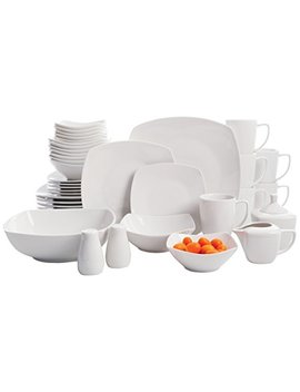 Gibson Home Zen Buffetware 39 Piece Porcelain Dinnerware Set Service For 6 With Serveware, Square, White by Gibson Home
