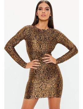 Brown Animal Plisse Long Sleeve Mini Dress by Missguided