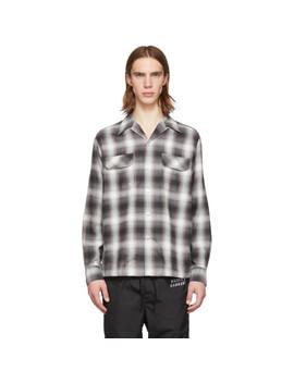 Brown Ombré Check Open Collar Shirt by Wacko Maria