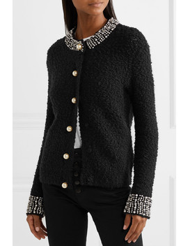 Devona Crystal And Faux Pearl Embellished Wool Blend Bouclé Cardigan by Alice + Olivia
