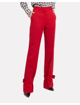 Red Wrapped Ankle Trousers by Victoria Beckham