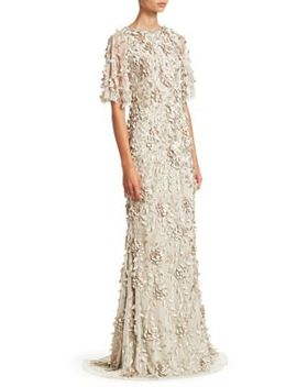 Embellished Flutter Sleeve Tulle Gown by Theia