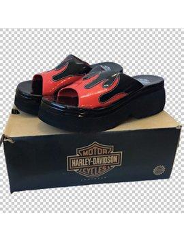 Sz 6.5 Harley Davidson 1998 Red Flames Patent Vegan Leather Slides // Y2 K Bad Girl Bratz Chunky Flaming Slides // 1990s Platform Slip Ons by Etsy