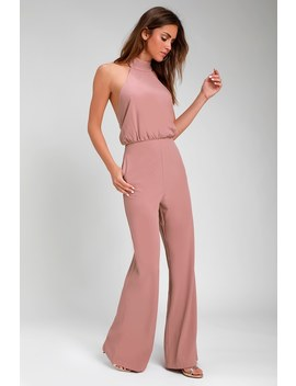 Moment For Life Dusty Pink Halter Jumpsuit by Lulus