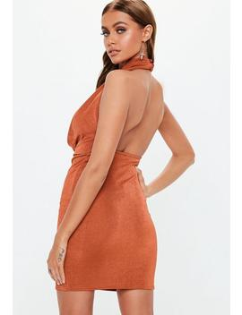 Rust Slinky Extreme Cowl Mini Dress by Missguided