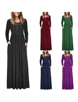 Women's Ladies Long Sleeve Plain Casual Pockets Crew Neck Loose Maxi Dress Us by Unbranded