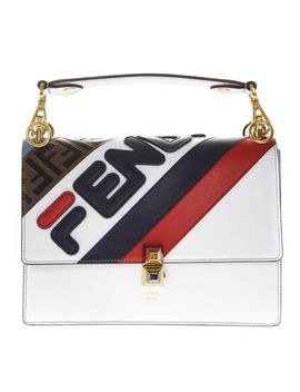 Fendi Kan I White Leather Bag With Fendi Mania Logo by Fendi