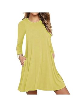 Women's Solid Long Sleeve Pocket Casual Maxi Dresses Loose T Shirt Dress Hot by Unbranded