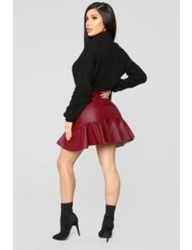 Don't Speak Faux Leather Flounce Skirt   Red by Fashion Nova
