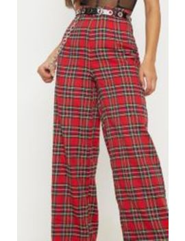 Red Tartan Chain Detail Wide Leg Trouser by Prettylittlething