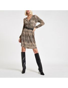 Brown Plisse Snake Print Waisted Mini Dress by River Island