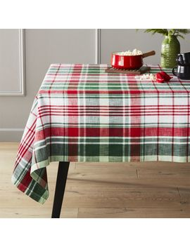 Red And Green Plaid Tablecloth by Crate&Barrel
