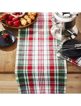 """Red And Green Plaid 90"""" Table Runner by Crate&Barrel"""