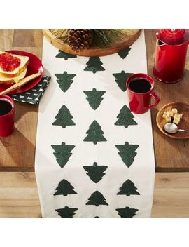 Woodland Trees Embroidered Table Runner by Crate&Barrel