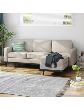 Wrought Studio Melby Mid Century Fabric Chaise Sectional by Wrought Studio