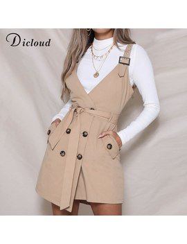 Dicloud Sexy V Neck Pinafore Dress With Pockets Autumn Winter Women Spaghetti Strap Vintage Casual Dress Solid Streetwear by Dicloud
