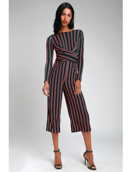 Amusement Pink Striped Twist Front Long Sleeve Jumpsuit by Lulus