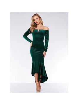 Quiz   Bottle Green Velvet Glitter Dip Hem Maxi Dress by Quiz