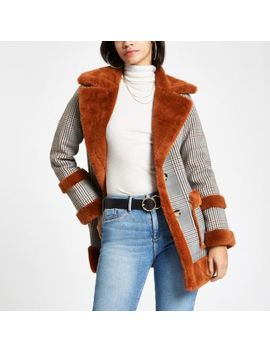 Brown Check Faux Fur Trim Aviator Jacket by River Island