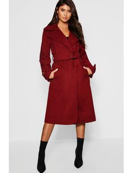 Gold Buckle Belted Wool Look Coat by Boohoo