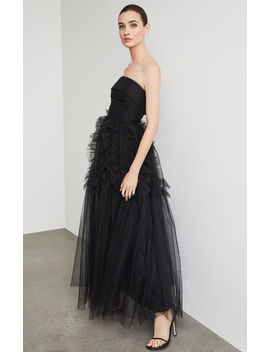 Strapless Ruffle Trimmed Long Gown by Bcbgmaxazria