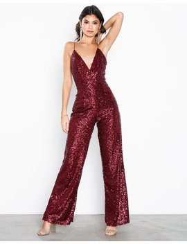 Deep Back Sequin Jumpsuit by Nly Eve