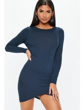 Petite Navy Crew Neck Mini Dress by Missguided