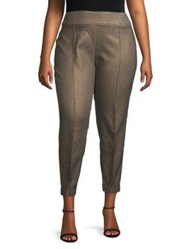 Plus Metallic Houndstooth Pants by Lord & Taylor