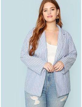 Plus Notched Collar Roll Tab Sleeve Striped Blazer by Shein