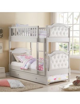 Acme Furniture Pearlie Twin Over Twin Bunk Bed In Gray And Pearl White by Acme Furniture