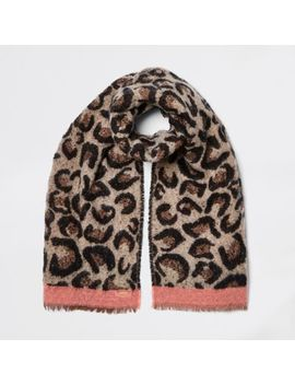 Brown Leopard Print Scarf by River Island