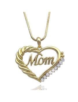 Cocojewelry Mother's Day Mom Word Engraved Heart Love Pendant Necklace Gift For Mom by Coco Jewelry