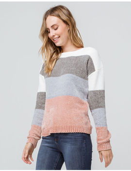 Poof Color Block Chenille Pink Womens Sweater by Poof