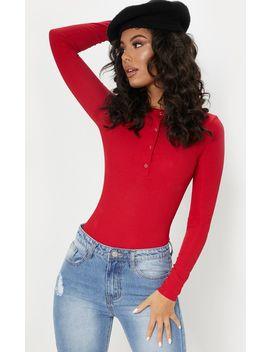 Red Long Sleeve Rib Popper Bodysuit by Prettylittlething
