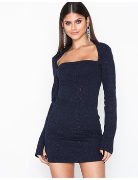 Square Neck Glitter Dress by Nly One