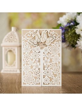 Wishmade 50 Wedding Invitation Cards Laser Cut Floral Butterfly Card Stock White With Envelopes, Stickers For Engagement,Baby Shower, Birthday Party by Wishmade