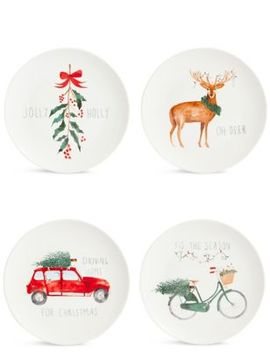Set Of 4 Christmas Slogan Side Plates by Marks & Spencer