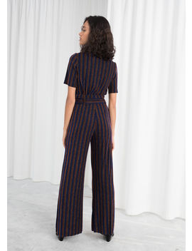 Glitter Stripe Belted Pants by & Other Stories