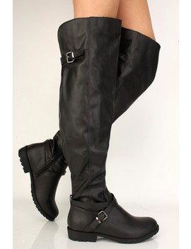 Black Buckled Over The Knee Flat Boots by Ami Clubwear