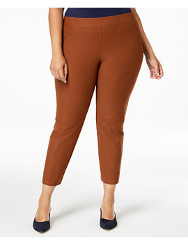 Plus Size Washable Crepe Slim Ankle Pants by Eileen Fisher