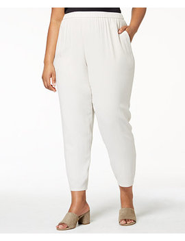 Plus Size System Silk Pull On Pants by Eileen Fisher