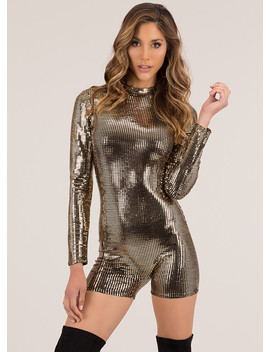 Disco Forever Sequin Tiled Romper by Go Jane