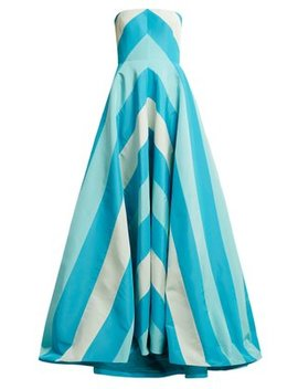 Chevron Silk Faille Gown by Carolina Herrera