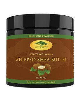 (8 Oz) Vanilla Whipped African Shea Butter Cream   Pure 100 Percents Raw All Natural Organic Moisture For Soft Skin And Natural Hair   Body Butter Improves... by Rise 'n Shine Online