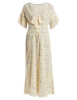 Floral Print Silk Crepe De Chine Dress by Miu Miu