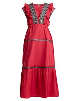 Bodrum V Neck Ruffle Trimmed Cotton Dress by Daft