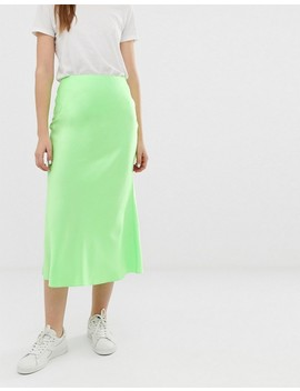 Asos Design Bias Cut Satin Slip Midi Skirt In Neon by Asos Design
