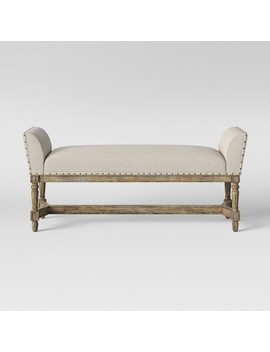 Linwood Settee Bench With Wood Base Beige   Threshold™ by Shop This Collection