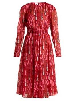 Lipstick Print Silk Georgette Dress by Valentino