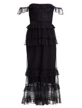 Strapless Ruffled Tulle Dress by Jonathan Simkhai